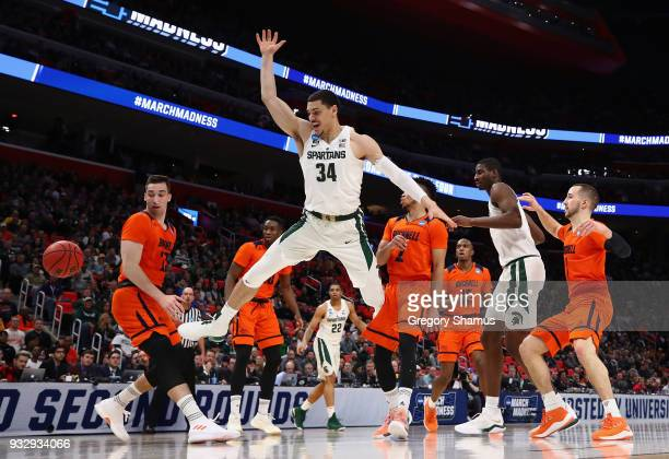 Gavin Schilling of the Michigan State Spartans loses the ball during the first half against the Bucknell Bison in the first round of the 2018 NCAA...