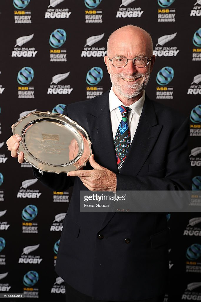 Gavin Service, with the Steinlarger Salver for an Outstanding Contribution to NZ Rugby at the ASB Rugby Awards at SkyCity Convention Centre on December 15, 2016 in Auckland, New Zealand.