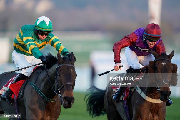 Gavin Sheehan riding Fact Of The Matter clear the last to win The Glenfarclas Cross Country Handicap Chase at Cheltenham Racecourse on December 14...