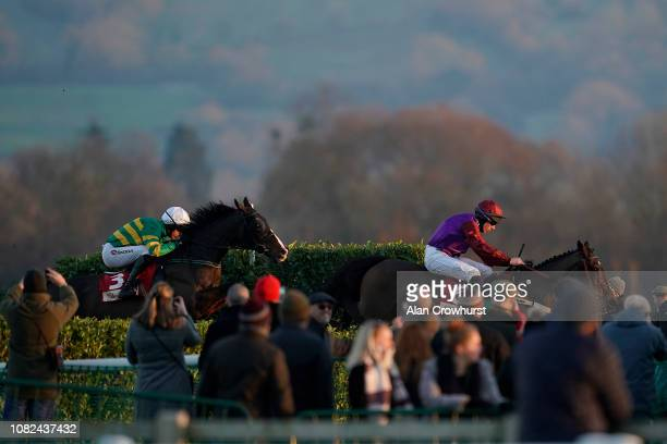 Gavin Sheehan riding Fact Of The Matter con their way to winning The Glenfarclas Cross Country Handicap Chase at Cheltenham Racecourse on December 14...