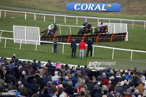 Gavin Sheehan riding Shantou Bob clear the last to win The Coral proud Supporters Of British Horse Racing Handicap Hurdle Race at Chepstow Racecourse...