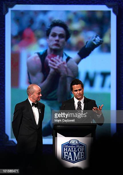 Gavin Wanganeen is interviewed by Tim Lane after he was made an inductee of the AFL Hall of Fame at the 2010 Australian Football Hall of Fame...