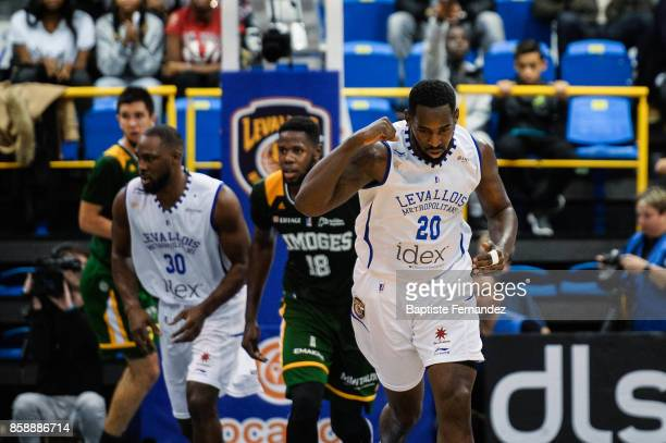 Gavin Ware of Levallois celebrates during the Pro A match between Levallois and Limoges on October 7 2017 in LevalloisPerret France
