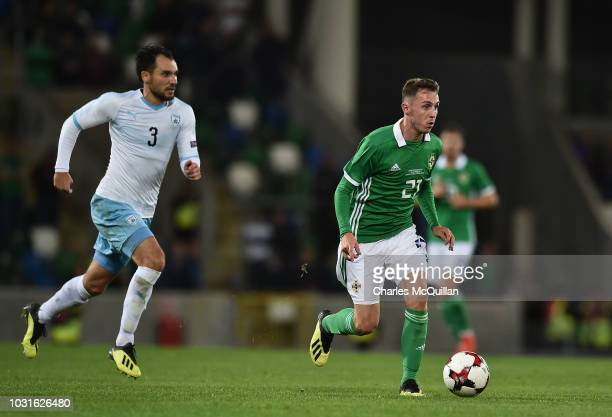 Gavin Whyte of Northern Ireland and Shmuel Scheimann of Israel during the international friendly football match between Northern Ireland and Israel...