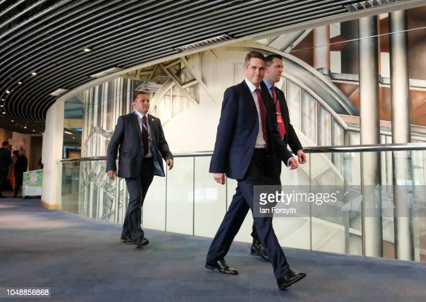 Gavin Williamson CBE Secretary of State for Defence makes his way to Symphony Hall in the International Convention Centre ahead of a keynote speech...