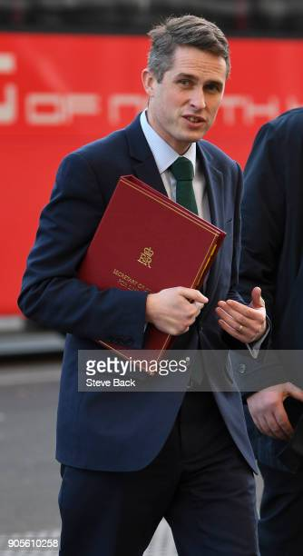 Gavin Williamson MP Secretary of State for Defence arrives at Downing Street for the British Weekly Cabinet Meeting on January 16 2018 in London...