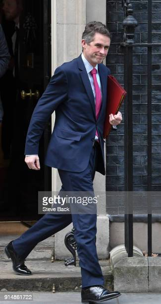 Gavin Williamson MP Secretary of State for Defence arrives at Downing Street on February 06 2018 in London England