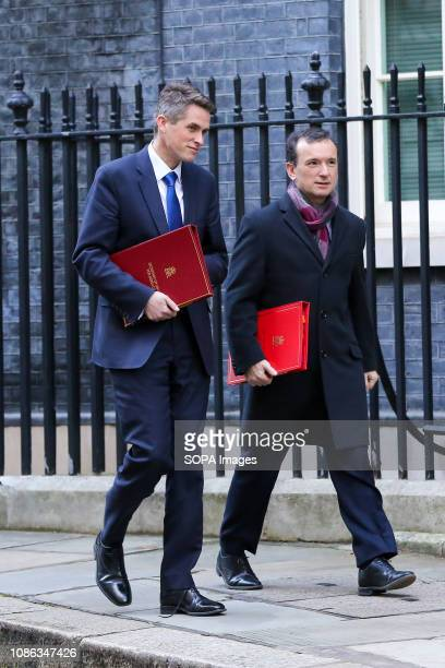 Gavin Williamson Secretary of State for Defence and Alun Cairns Secretary of State for Wales are seen departing from No 10 Downing Street after...