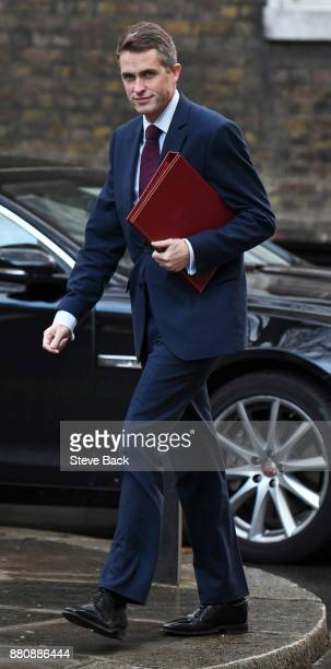 Gavin Williamson Secretary of State for Defence arrives at 10 Downing Street for the weekly Cabinet meeting on November 28 2017 in London England