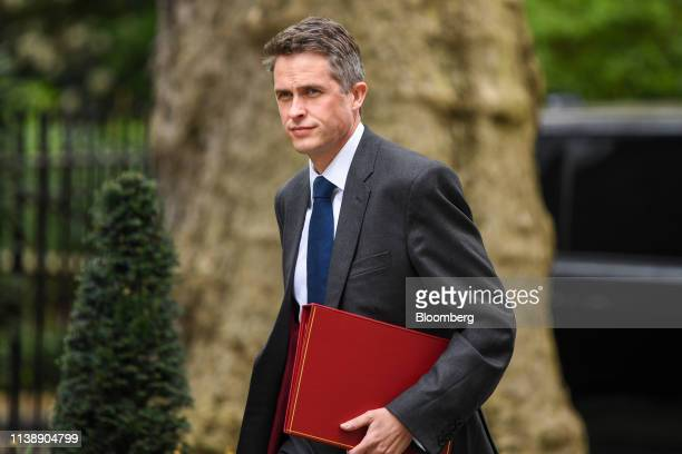 Gavin Williamson UK defence secretary arrives for a weekly meeting of cabinet ministers at number 10 Downing Street in London UK on Tuesday April 23...