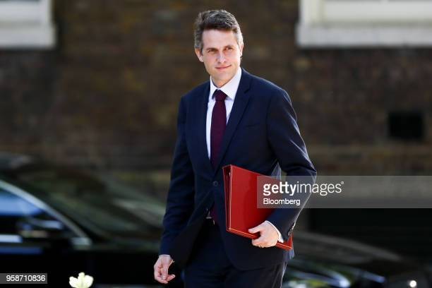 Gavin Williamson UK defence secretary arrives to attend a meeting of cabinet minsters at number 10 Downing Street in London UK on Tuesday May 15 2018...