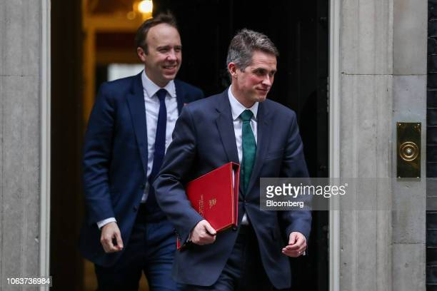 Gavin Williamson UK defence secretary right and Matt Hancock UK health secretary leave after the weekly meeting of cabinet ministers at number 10...