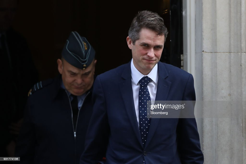 Gavin Williamson, U.K. defense secretary, exits 10 Downing Street following a national security meeting in London, U.K., on Wednesday, March 14, 2018. Prime Minister Theresa May publicly blamed Russia for poisoning a former spy and his daughter on British soil, as escalating tension between the Kremlin and the West raised fears of a new Cold War. Photographer: Simon Dawson/Bloomberg via Getty Images