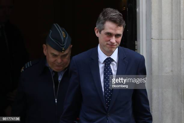 Gavin Williamson UK defense secretary exits 10 Downing Street following a national security meeting in London UK on Wednesday March 14 2018 Prime...