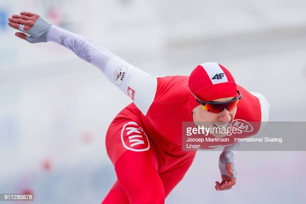Gawel Oficjalski of Poland competes in the Men's 500m during day two of the ISU Junior World Cup Speed Skating at Olympiaworld Ice Rink on January...