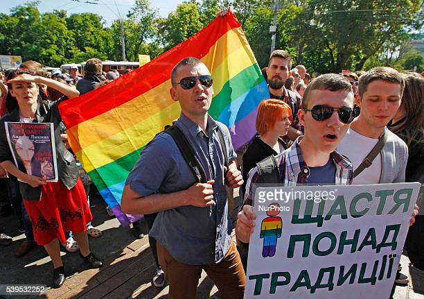 Gay activists and their supporters hold the Gay pride parade in Kiev Ukraine12 June2016 Representatives of LGBT gay rights activists and their...