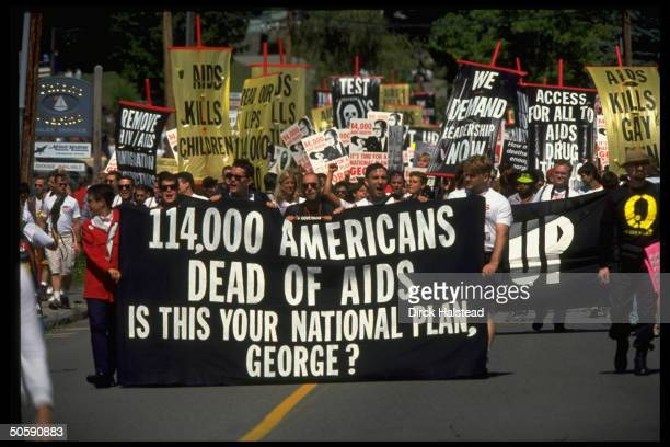 gay advocates protesting Pres's AIDS policy in Act Uporganized demo replete w signs in Bush vacation town Kennebunkport ME