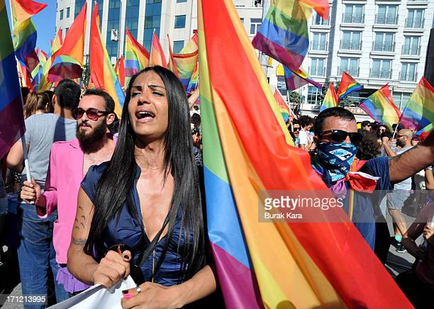 Gay and human rights activists chant slogans during antigovernment protests on Istiklal Street the main shopping corridor on June 23 2013 in Istanbul...