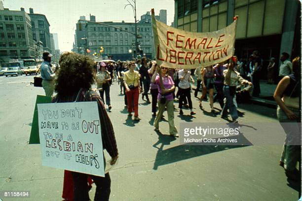 Gay and Lesbian activists protest discrimination at the Christopher Street Gay Liberation Day in June 1971 in New York City, New York.