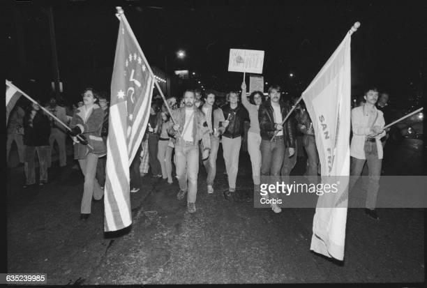 Gay and lesbian demonstrators remember City Councilman Harvey Milk by marching in the street Milk was assassinated with Mayor George Moscone in the...
