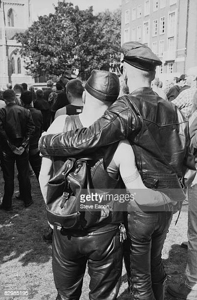 Gay couple at an S&M Pride march, London, 9th September 1995.
