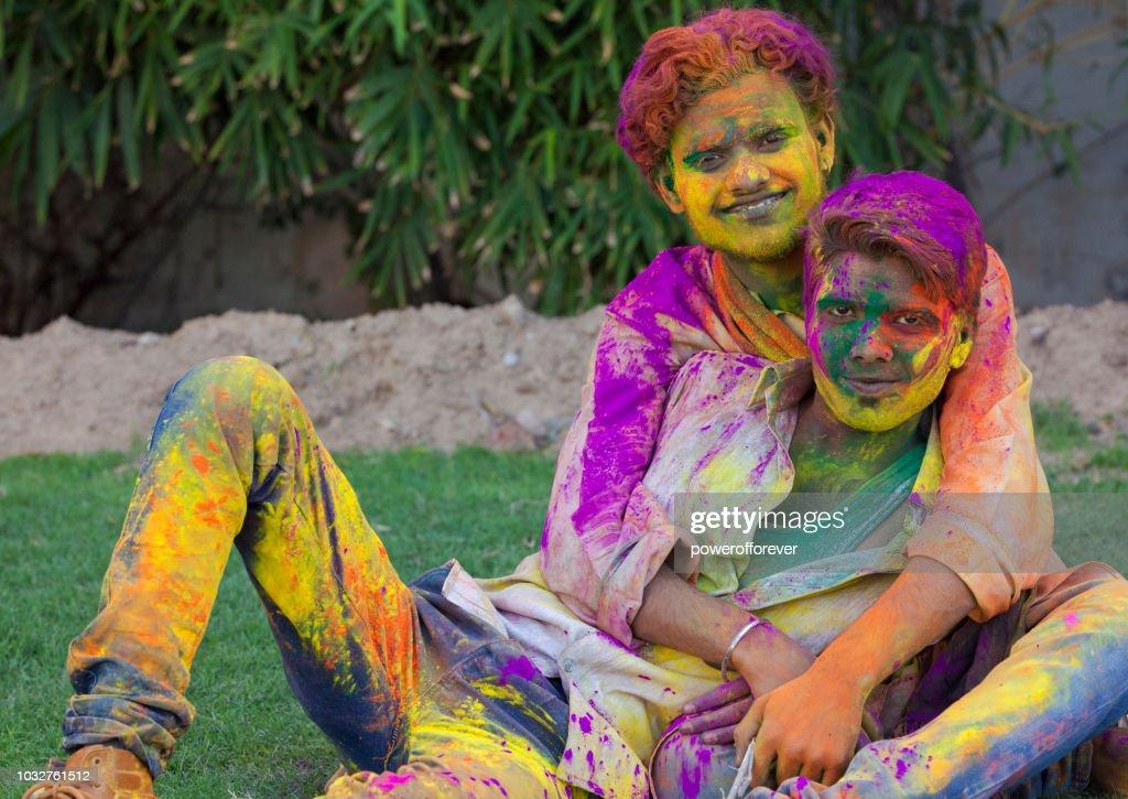 Gay Couple Celebrating Holi in Jaipur, India : Stock Photo