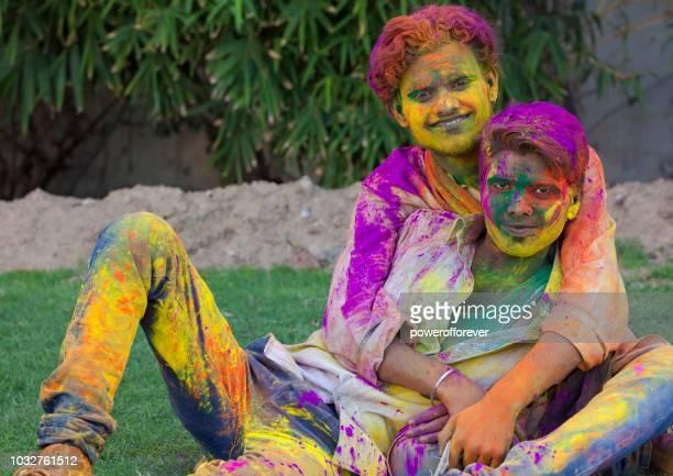 Gay Couple Celebrating Holi in Jaipur, India