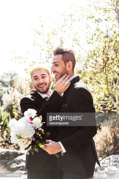 gay couple celebration for the civil marriage - civil partnership stock pictures, royalty-free photos & images