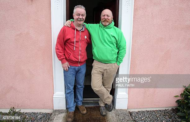 Gay couple Donal Traynor poses with his partner Joseph Bowlby at Dungarvan harbour on May 14, 2015. When Donal Traynor met Joseph Bowlby in Dublin in...