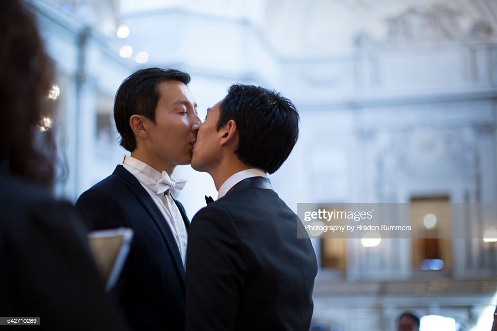 Gay couple getting married in San Francisco. : Stock Photo