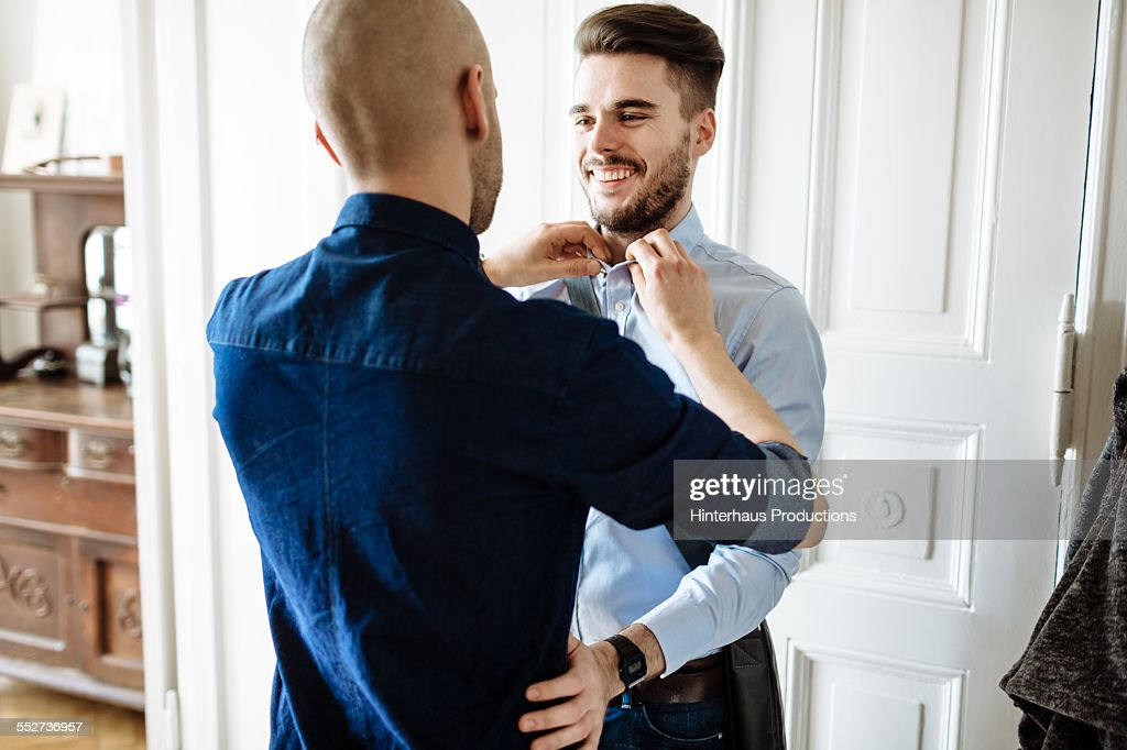Gay Couple Getting Ready For The Day : Stock Photo