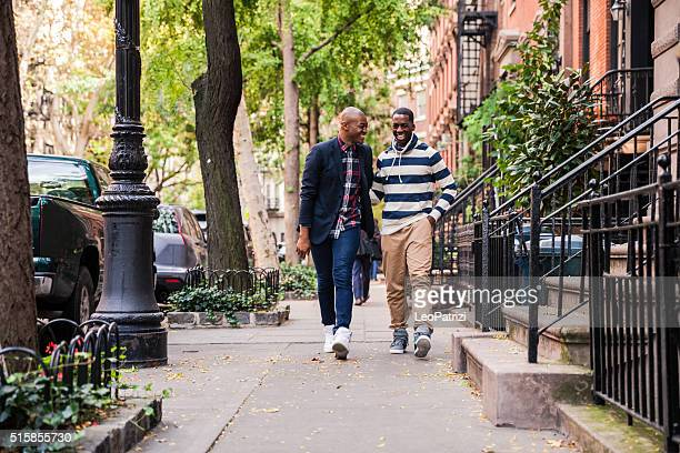 Gay couple hanging out in Greenwich Village - NY