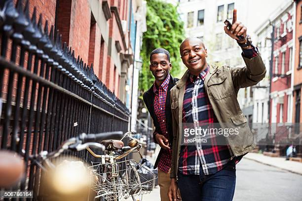 Gay couple having fun together in New York City