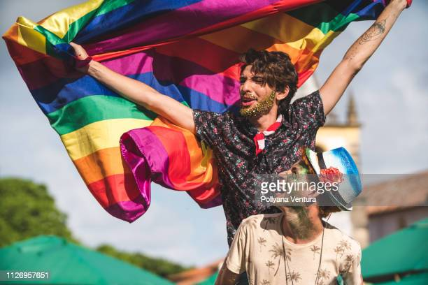 gay couple holding the lgbt flag - pride stock pictures, royalty-free photos & images