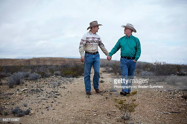 Gay couple in Texas desert.
