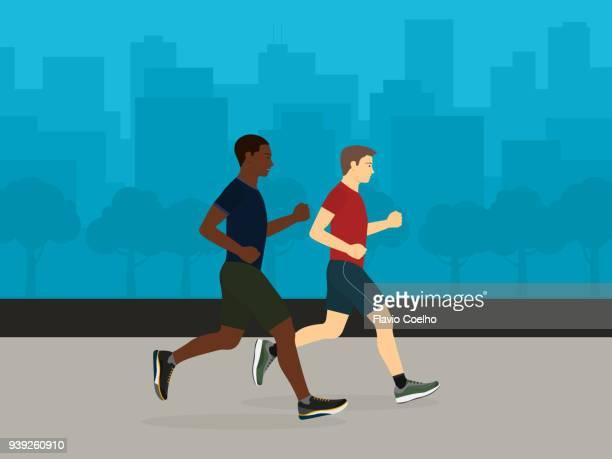 Gay couple jogging illustration