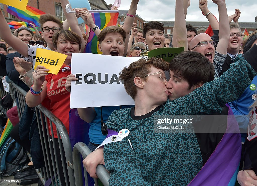 A gay couple kiss in Dublin Castle Square as the result of the referendum is relayed on May 23, 2015 in Dublin, Ireland. Voters in the Republic of Ireland were taking part in a referendum on legalising same-sex marriage on Friday. The referendum was held 22 years after Ireland decriminalised homosexuality with more than 3.2m people being asked whether they want to amend the country's constitution to allow gay and lesbian couples to marry. Ireland voted overwhelmingly to legalise same-sex marriage in a historic referendum. More than 62% voted in favour of amending the country's constitution to allow gay and lesbian couples to marry. It is the first country in the world to legalise same-sex marriage through a popular vote.