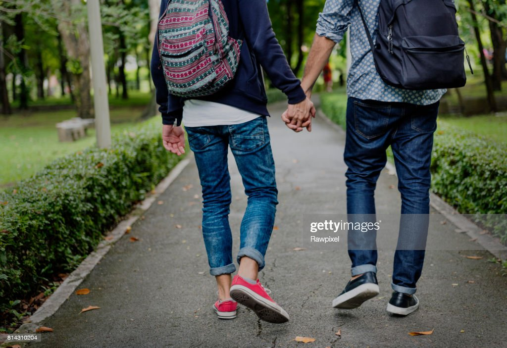 Gay Couple Love Outdoors Concept : Stock Photo