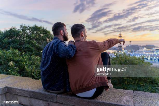gay couple on lookout above the city with view to the port, barcelona, spain - romantic sky stock pictures, royalty-free photos & images