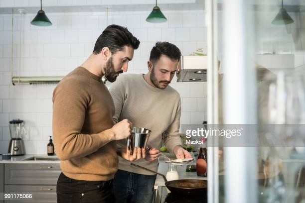 gay couple preparing food in kitchen at home - lesbienne photos et images de collection