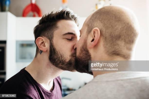 Gay Couple Share A Kiss
