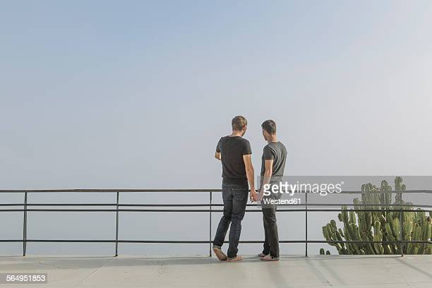 Gay couple standing on a balcony