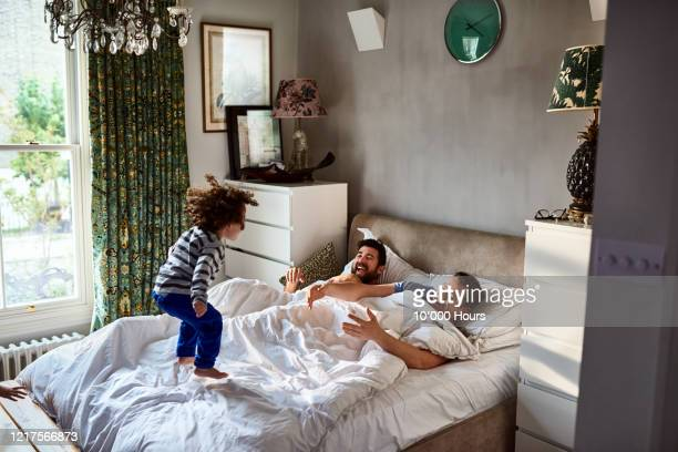gay couple waking up with young son jumping on bed - adoption stock pictures, royalty-free photos & images