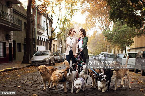 Gay couple walking dogs on cobblestone street