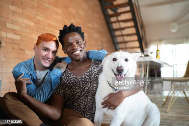 gay couple with berger blanc suisse dog at home - monogamous animal behavior stock photos and pictures