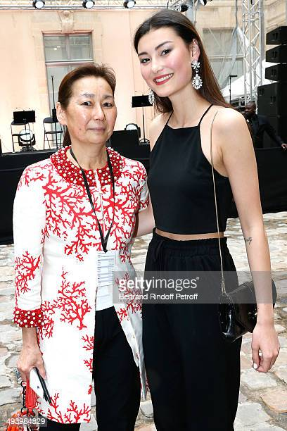 Gay Gassmann and her daughter Amalie attend the Pharrell Williams' Private Concert at Galerie Perrotin in Paris on May 26 2014 in Paris France