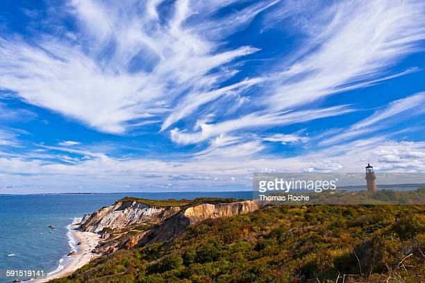 gay head cliffs and lighthouse - martha's_vineyard stock pictures, royalty-free photos & images