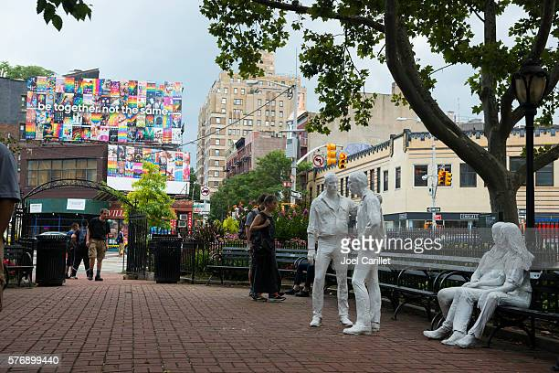 gay liberation monument in new york city - stonewall inn stock photos and pictures