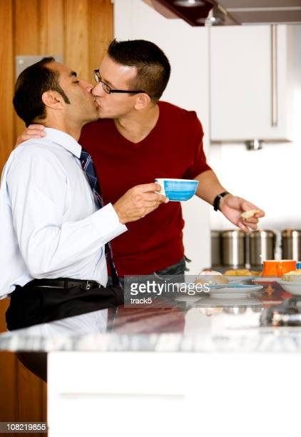 gay lifestyle: good morning - good morning kiss images stock photos and pictures