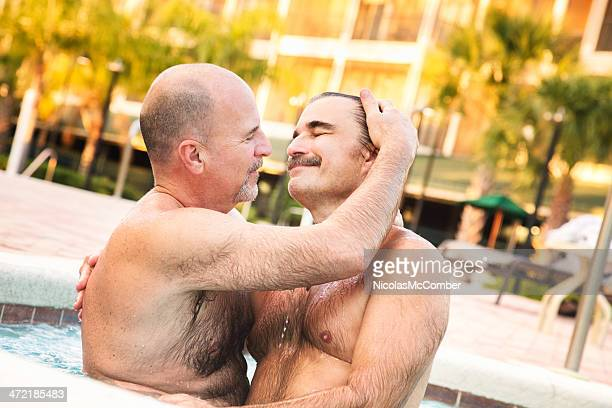 Gay love in the hot tub